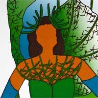 design drawing of woman wearing green and blue corset with green and blue backpack