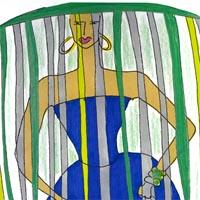 design drawing of woman in blue dress with green, yellow and grey headdress