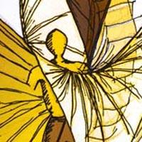 design drawing of man wearing costume with long yellow and brown wings