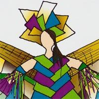 design drawing of woman wearing blue, purple and green geometric shaped dress, headdress and opened multicolor wings