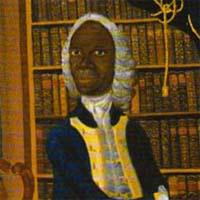 postcard of a painting of a black man wearing a white wig and gold-trimmed coat and waistcoat. He is in a library with his left hand on an open book, behind him are shelves of books. The caption on the back reads: Francis Williams, The Jamiacan Scholar, c.1745