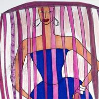 design drawing of woman in blue dress with purple and pink headdress
