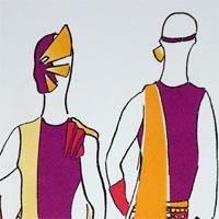 design drawing of front and back of figure with purple and orange costume and mask and a red, decorated belt, carrying an orange baton.