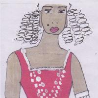 Design drawing for costume showing woman in red corset with white decoration.