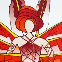 design drawing of woman wearing red turban and eight wings red backpack