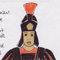 design drawing of man wearing black breastplate, black helmet with red feathers and leather sandals carrying a standard