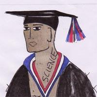 Design drawing for scholar costume, with cloak and mortar board and with red, white and blue decoration