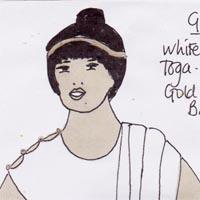 design drawing of woman wearing a white toga-style dress with gold buttons and bangles, headband and gold sandals