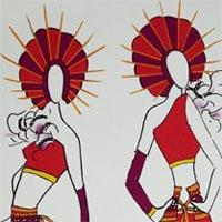 design drawing of front and back of figure with red top and short skirt with purple belt and circle-shaped headdress in purple and red with a big white flower on the chest and carrying a baton