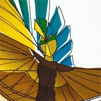 design drawing of man with yellow and blue long wings in movement