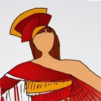 desing drawing of woman wearing red and yellow geometric shape dress with fringe end, geometric headdress and long baton