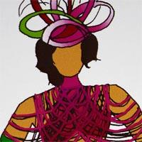 design drawing of woman wearing pink bikini with pink strips and headdress carring on  a hoop